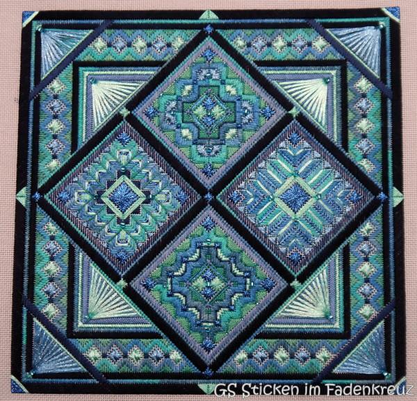 Needlepoint in Blautönen