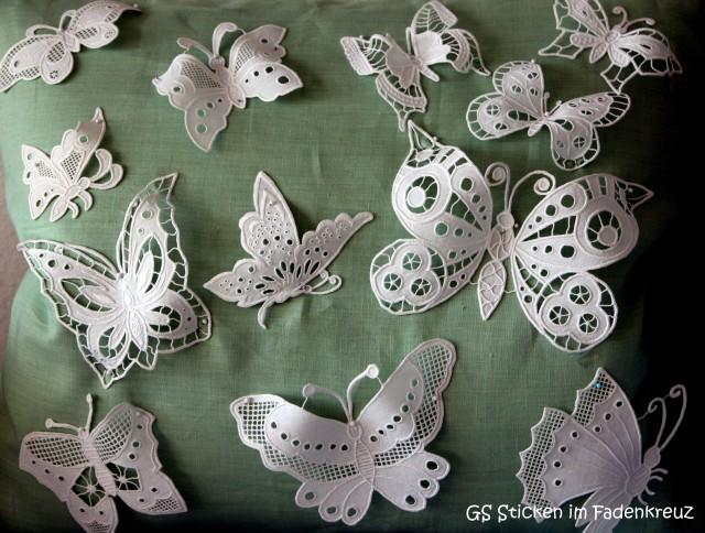 Auch in der Weißstickerei ein beliebtes Motiv: Schmetterlinge