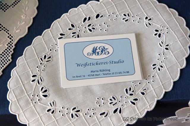 Deckchen mit Visitenkarte