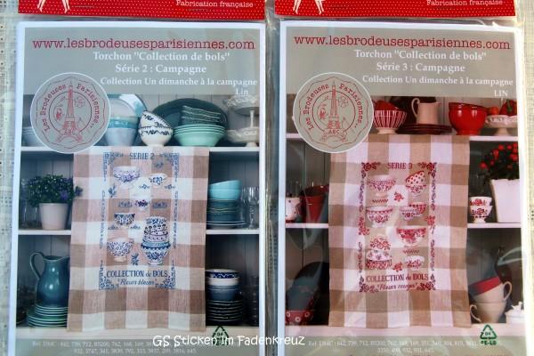 Handtücher, zu besticken mit blauem und rotem Geschirr