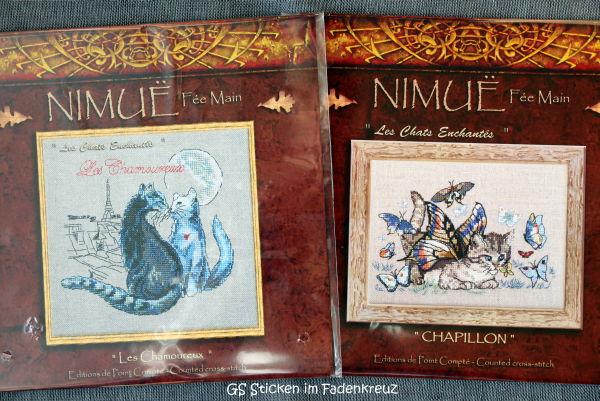 Zwei neue Stickvorlagen mit Katzenmotiven von Nimue