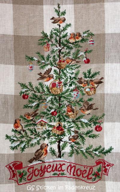 gestickter Weihnachtsbaum mit Vögeln