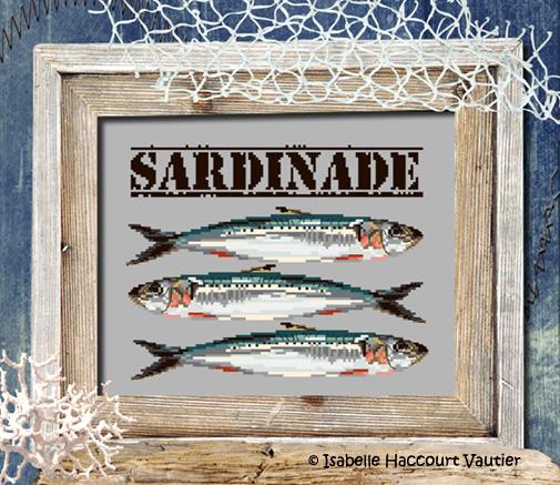 drei Sardinen als Stickmotiv