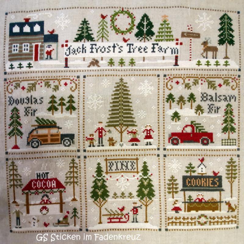 Siebenteiliges Stickbild mit weihnachtlichen Waldszenen